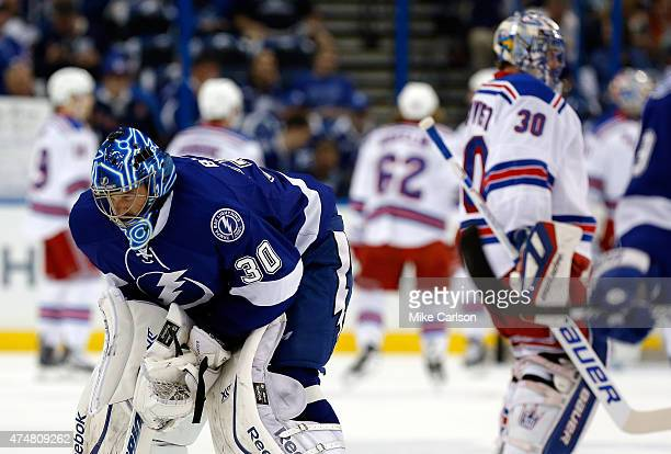 Ben Bishop of the Tampa Bay Lightning and Henrik Lundqvist of the New York Rangers warmup prior to Game Six of the Eastern Conference Finals during...