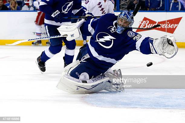 Ben Bishop of the Tampa Bay Lightning gives up a goal to Derick Brassard of the New York Rangers during the third period in Game Six of the Eastern...