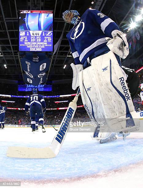 Ben Bishop of the Tampa Bay Lightning looks on after giving up a goal to Keith Yandle of the New York Rangers during the second period in Game Four...