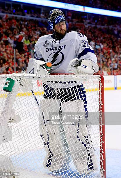 Ben Bishop of the Tampa Bay Lightning looks on during a break in play against the Chicago Blackhawks during Game Three of the 2015 NHL Stanley Cup...