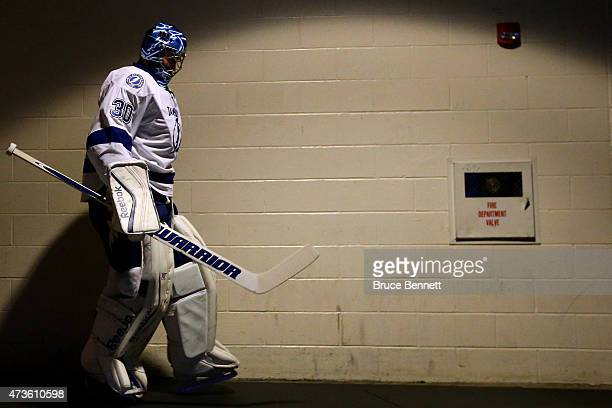 Ben Bishop of the Tampa Bay Lightning prepares to take the ice before Game One of the Eastern Conference Finals against the New York Rangers during...