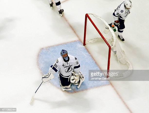 Ben Bishop of the Tampa Bay Lightning reacts after giving up a third period to Patrick Kane of the Chicago Blackhawks during Game Six of the 2015 NHL...