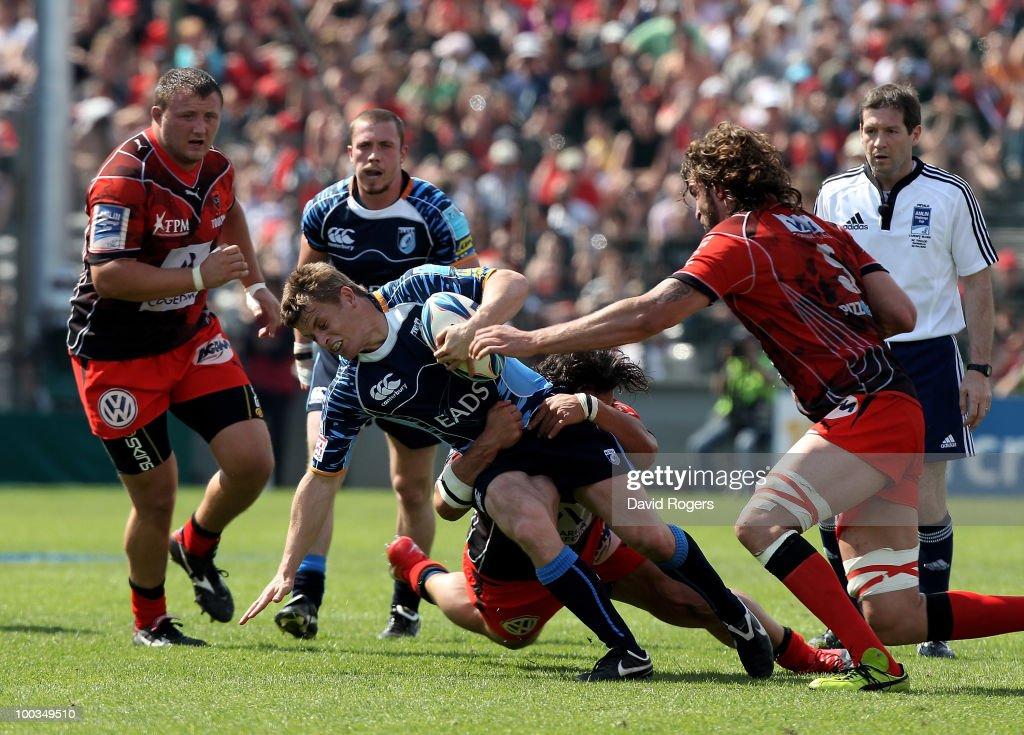 Ben Blair of Cardiff is tackled during the Amlin Challenge Cup Final between Toulon and Cardiff Blues at Stade Velodrome on May 23, 2010 in Marseille, France.