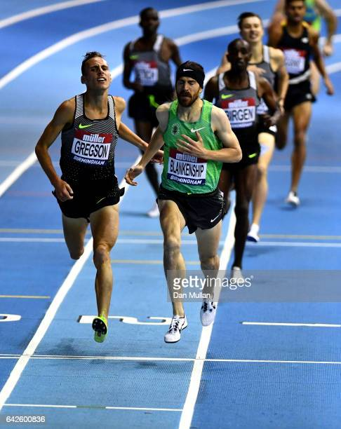 Ben Blankenship crosses the line ahead of Ryan Gregson of Australia to win the Men's 1500 metres final during the Muller Indoor Grand Prix 2017 at...