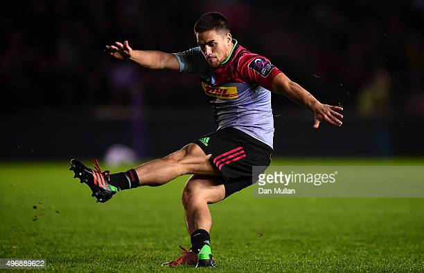 Ben Botica of Harlequins kicks a conversion during the European Rugby Challenge Cup Pool 3 match between Harlequins and Montpellier at Twickenham...