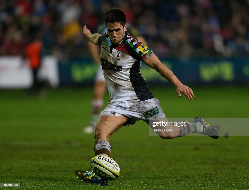 Ben Botica of Harlequins kicks a conversion during the LV= Cup match between Ospreys and Harlequins at Brewery Field on February 3, 2013 in Bridgend, Wales.