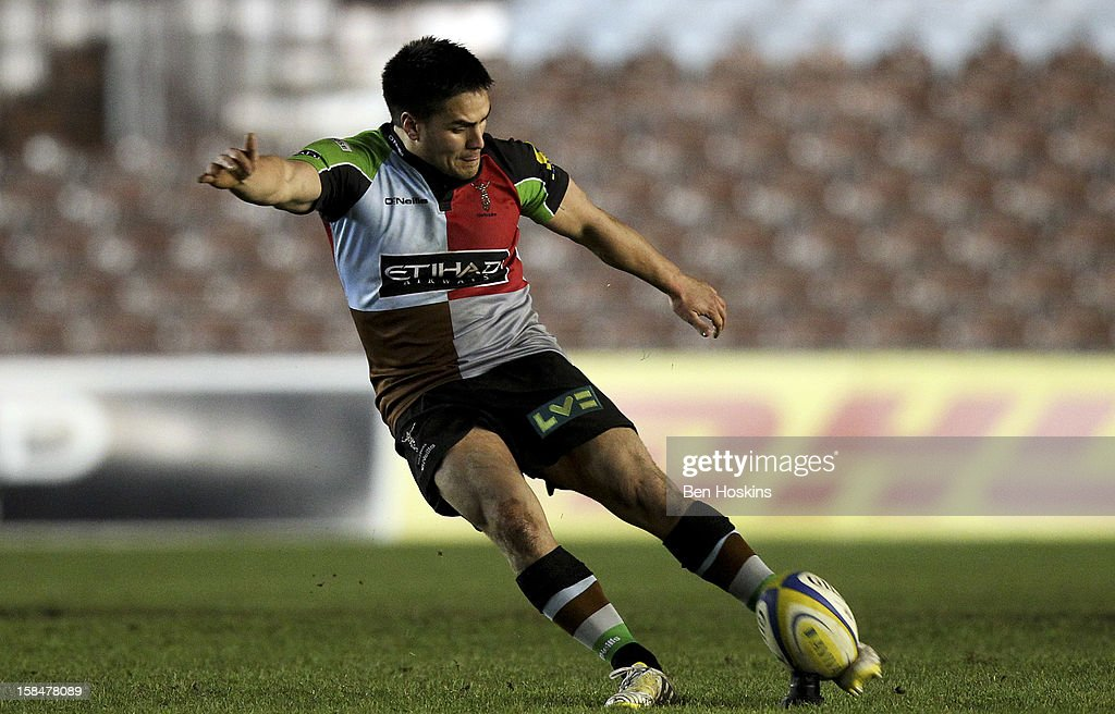 Ben Botica of Harlequins kicks a penalty during the Aviva 'A' league match between Harlequins and Saracens Storm at the Twickenham Stoop on December 17, 2012 in London, England.