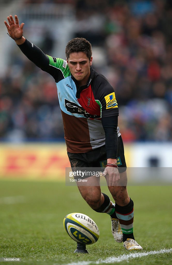 Ben Botica of Quins kicks a conversion during the LV= Cup match between Harlequins and London Welsh at Twickenham Stoop on January 26, 2013 in London, England.