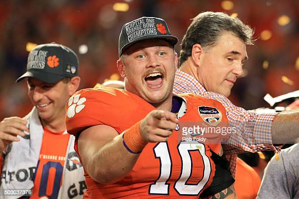 Ben Boulware of the Clemson Tigers celebrates defeating the Oklahoma Sooners with a score of 37 to 17 to win the 2015 Capital One Orange Bowl at Sun...