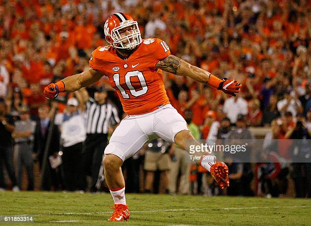 Ben Boulware of the Clemson Tigers reacts after a sack against the Louisville Cardinals at Memorial Stadium on October 1 2016 in Clemson South...