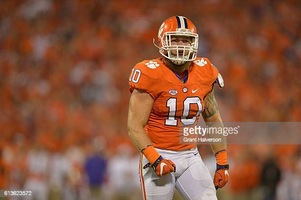 Ben Boulware of the Clemson Tigers reacts during the game against the Louisville Cardinals at Memorial Stadium on October 1 2016 in Clemson South...