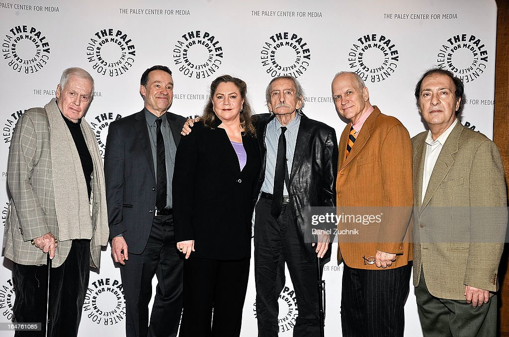 Ben Brantley, <a gi-track='captionPersonalityLinkClicked' href=/galleries/search?phrase=Kathleen+Turner&family=editorial&specificpeople=202649 ng-click='$event.stopPropagation()'>Kathleen Turner</a>, <a gi-track='captionPersonalityLinkClicked' href=/galleries/search?phrase=Edward+Albee+-+Playwright&family=editorial&specificpeople=220644 ng-click='$event.stopPropagation()'>Edward Albee</a>, James Dowell and John Kolomvakis attend The Paley Center For Media Presents: 'The Stages Of <a gi-track='captionPersonalityLinkClicked' href=/galleries/search?phrase=Edward+Albee+-+Playwright&family=editorial&specificpeople=220644 ng-click='$event.stopPropagation()'>Edward Albee</a>' at Paley Center For Media on March 27, 2013 in New York City.