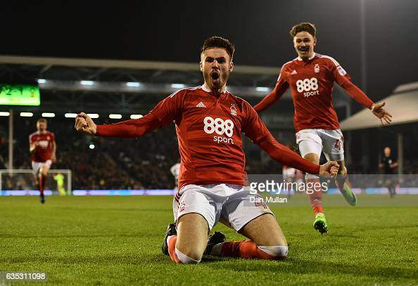 Ben Brereton of Nottingham Forest celebrates scoring his side's second goal during the Sky Bet Championship match between Fulham and Nottingham...