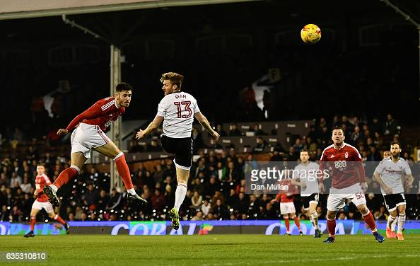 Ben Brereton of Nottingham Forest scores his side's second goal during the Sky Bet Championship match between Fulham and Nottingham Forest at Craven...