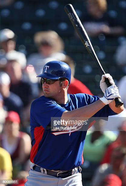 Ben Broussard of the Texas Rangers at bat during the game against the Los Angeles Angels of Anaheim at Tempe Diablo Stadium on February 28 2008 in...