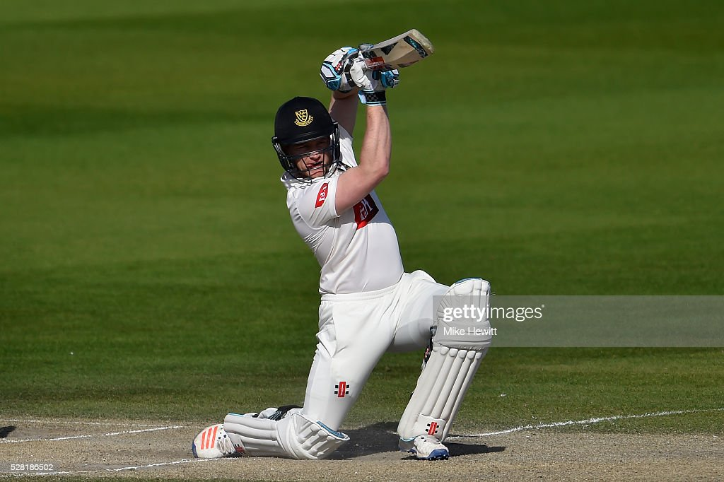 <a gi-track='captionPersonalityLinkClicked' href=/galleries/search?phrase=Ben+Brown+-+Cricket+Player&family=editorial&specificpeople=14828377 ng-click='$event.stopPropagation()'>Ben Brown</a> of Leicestershire drives during the Specsavers County Championship Division Two match between Sussex and Leicestershire on May 04, 2016 in Hove, England.