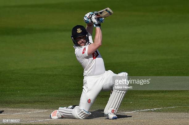 Ben Brown of Leicestershire drives during the Specsavers County Championship Division Two match between Sussex and Leicestershire on May 04 2016 in...