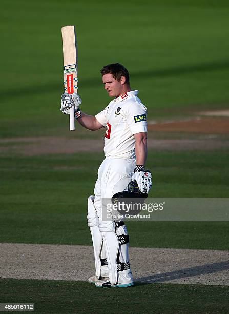 Ben Brown of Sussex celebrates his century during day three of the LV County Championship match between Sussex and Yorkshire at The...