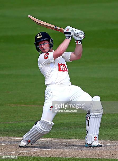 Ben Brown of Sussex hits out during day three of the LV County Championship match between Sussex and Warwickshire at The BrightonandHoveJobscom...