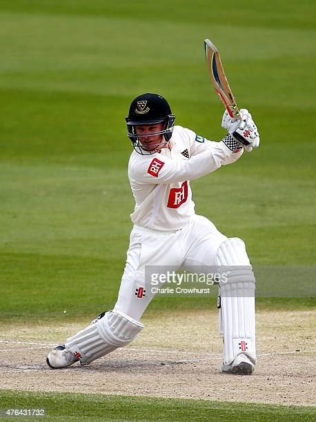 Ben Brown of Sussex hits out during day three of the LV County Championship match between Sussex and Hampshire at The BrightonandHoveJobscom County...