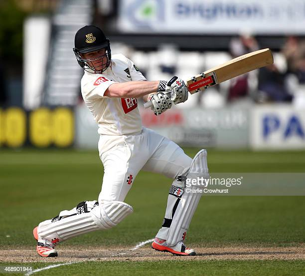 Ben Brown of Sussex hits out during day two of the friendly match between Sussex and Surrey at The BrightonandHoveJobscom County Ground on April 07...