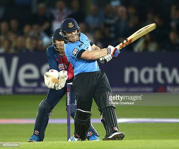 Ben Brown of Sussex hits out during the Natwest T20 Blast match between Sussex Sharks and Kent Spitfires at TheBrightonAndHoveJobscom County Ground...