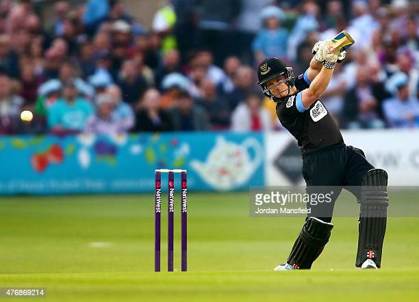 Ben Brown of Sussex hits out during the T20 Blast match between Sussex Sharks and Essex Eagles at BrightonandHoveJobscom County Ground on June 12...