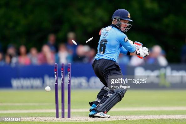 Ben Brown of Sussex is bowled by Craig Overton of Somerset during the Natwest T20 Blast match between Sussex Sharks and Somerset at Arundel Castle on...