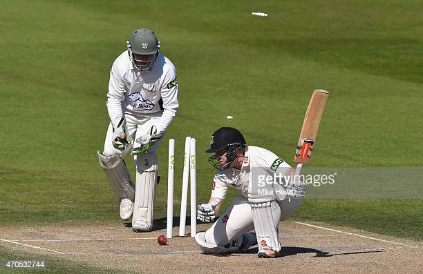 Ben Brown of Sussex is bowled by Jack Shantry of Worcestershire during Day 3 of the LV County Championship match between Sussex and Worcestershire at...