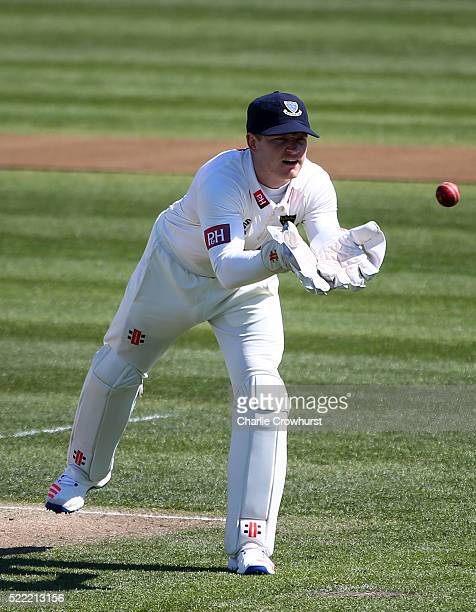Ben Brown of Sussex keeps his eye on the ball during day two of the Specsavers County Championship Division Two match between Sussex and Essex at The...