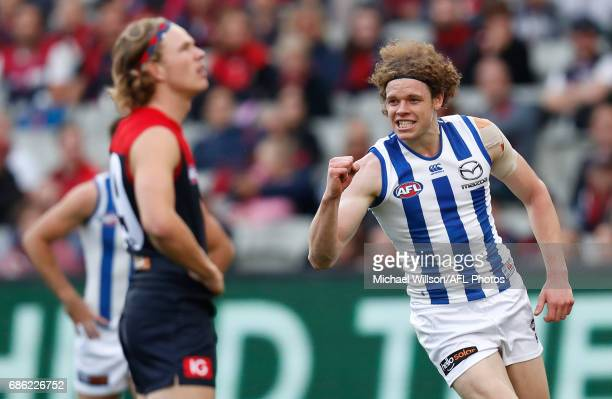 Ben Brown of the Kangaroos celebrates a goal during the 2017 AFL round 09 match between the Melbourne Demons and the North Melbourne Kangaroos at the...