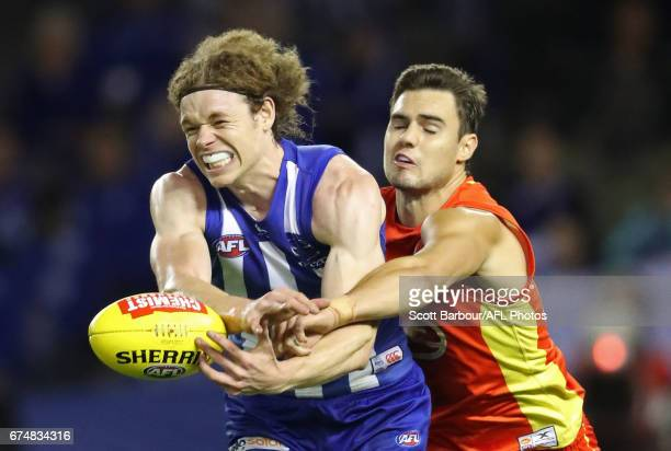 Ben Brown of the Kangaroos competes for the ball during the round six AFL match between the North Melbourne Kangaroos and the Gold Coast Suns at...