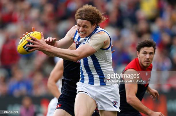 Ben Brown of the Kangaroos marks the ball during the 2017 AFL round 09 match between the Melbourne Demons and the North Melbourne Kangaroos at the...