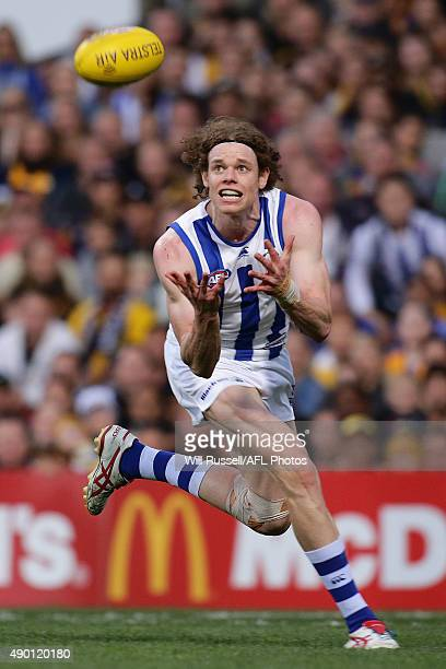 Ben Brown of the Kangaroos marks the ball during the AFL Second Preliminary Final match between the West Coast Eagles and the North Melbourne...