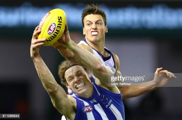 Ben Brown of the Kangaroos marks the ball during the round 16 AFL match between the North Melbourne Kangaroos and the Fremantle Dockers at Etihad...