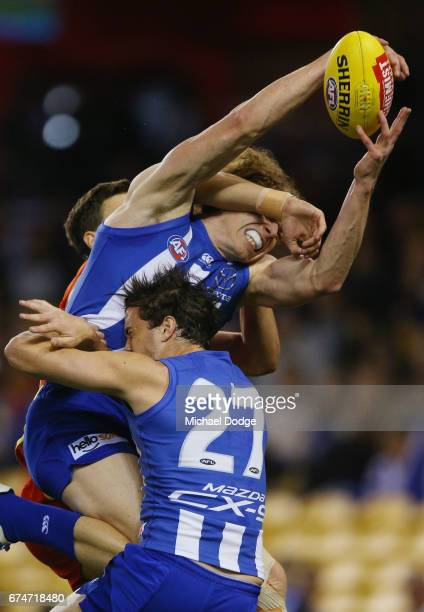 Ben Brown of the Kangaroos marks the ball for a goal during the round six AFL match between the North Melbourne Kangaroos and the Gold Coast Suns at...
