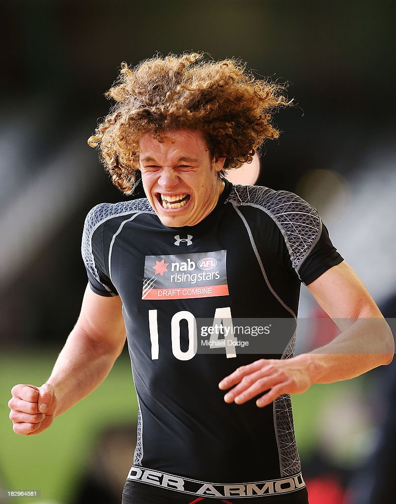 Ben Brown of the Werribee Tigers competes and wins his section of the Shuttle run during the 2013 AFL Draft Combine at Etihad Stadium on October 3, 2013 in Melbourne, Australia.