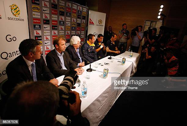 FFA CEO Ben Buckley Socceroos manager Pim Verbeek FFA Chairman Frank Lowy and Lucas Neill Tim Cahill and Mark Schwarzer of the Socceroos address the...