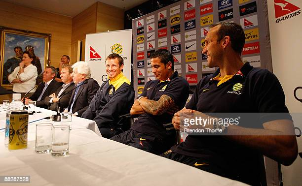 FFA CEO Ben Buckley Socceroos manager Pim Verbeek FFA Chairman Frank Lowy and Lucas Neill Tim Cahill and Mark Schwarzer of Socceroos address the...