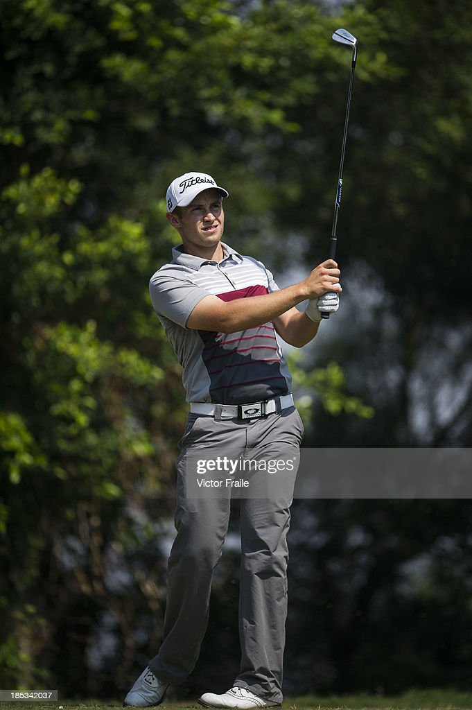 Ben Campbell of New Zealand tees off on the 6th hole during day three of the Venetian Macau Open at Macau Golf and Country Club on October 19, 2013 in Macau, Macau.