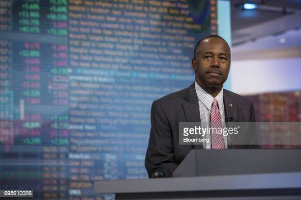 Ben Carson secretary of Housing and Urban Development listens during a Bloomberg Television interview in New York US on Tuesday June 13 2017 Carson...