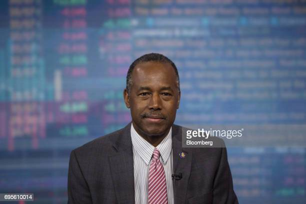 Ben Carson secretary of Housing and Urban Development smiles during a Bloomberg Television interview in New York US on Tuesday June 13 2017 Carson...