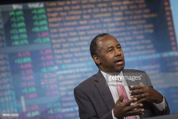 Ben Carson secretary of Housing and Urban Development speaks during a Bloomberg Television interview in New York US on Tuesday June 13 2017 Carson...