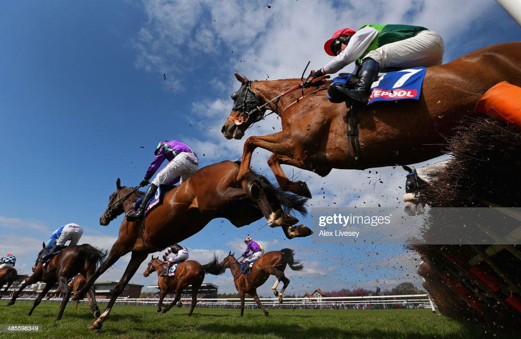 Ben Cee Pee M ridden by Craig Gallagher clears a fence during The £3 Million totescoop6 Today Handicap Hurdle Race at Haydock Racecourse on April 19, 2014 in Haydock, England.