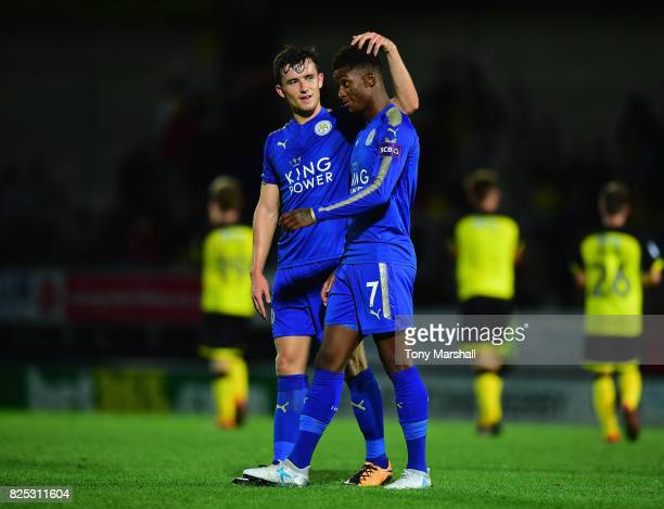 Ben Chilwell and Demarai Gray of Leicester City at the end of the PreSeason Friendly match between Burton Albion v Leicester City at Pirelli Stadium...