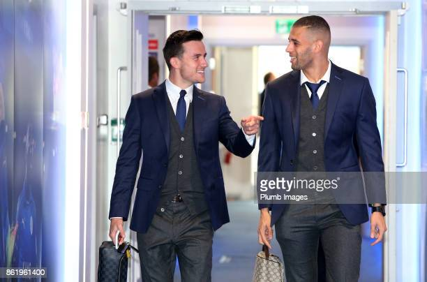 Ben Chilwell and Islam Slimani of Leicester City arrive at King Power Stadium ahead of the Premier League match between Leicester City and West...