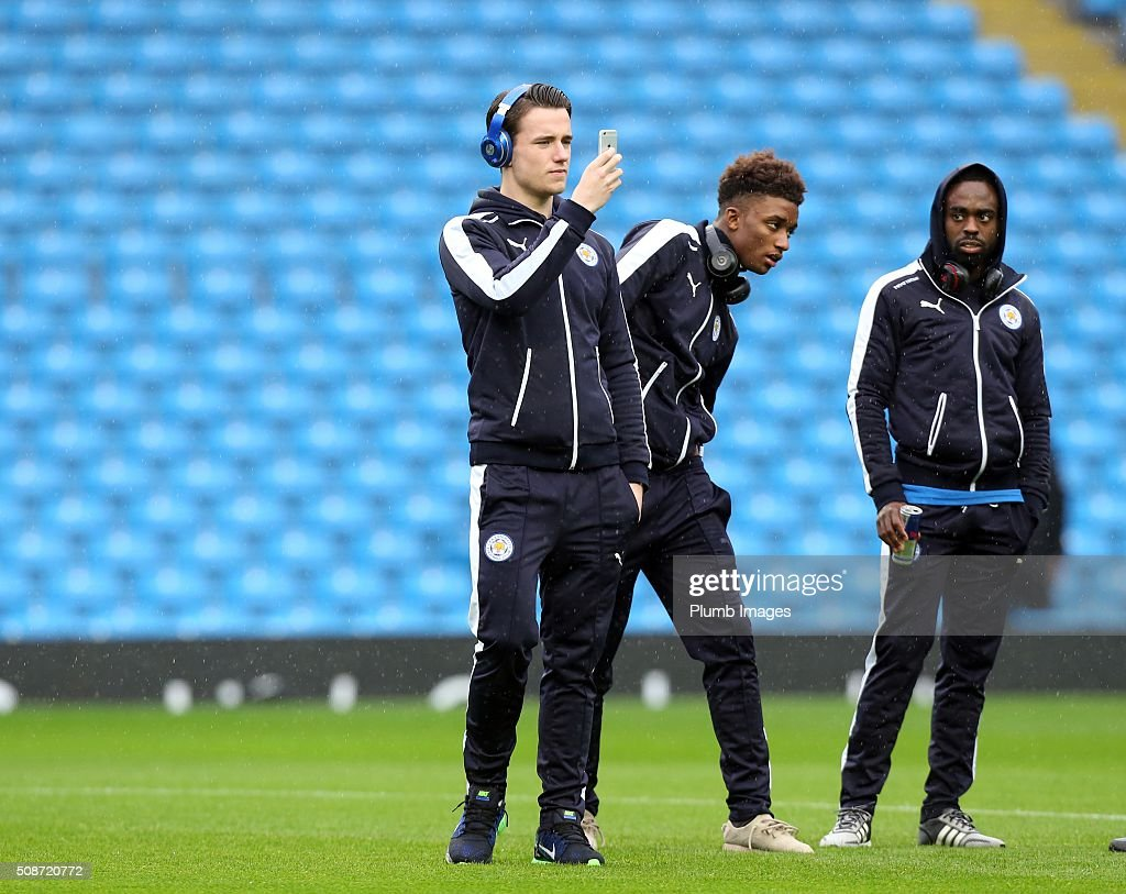 Ben Chilwell, Demarai Gray and Nathan Dyer of Leicester City at the Etihad Stadium ahead of the Premier League match between Manchester City and Leicester City at Etihad Stadium on February 6, 2016 in Manchester, United Kingdom.