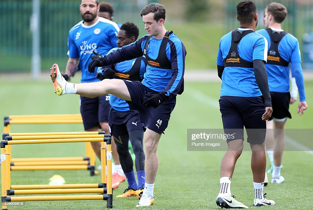 Ben Chilwell during the Leicester City training session at Belvoir Drive Training Complex on April 29, 2016 in Leicester, United Kingdom.