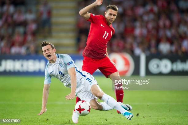 Ben Chilwell of England fouled by Przemyslaw Frankowski of Poland during the UEFA European Under21 Championship 2017 Group A match between England...