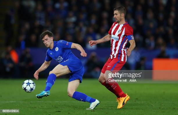 Ben Chilwell of Leicester City and Gabi of Atletico Madrid during the UEFA Champions League Quarter Final second leg match between Leicester City and...